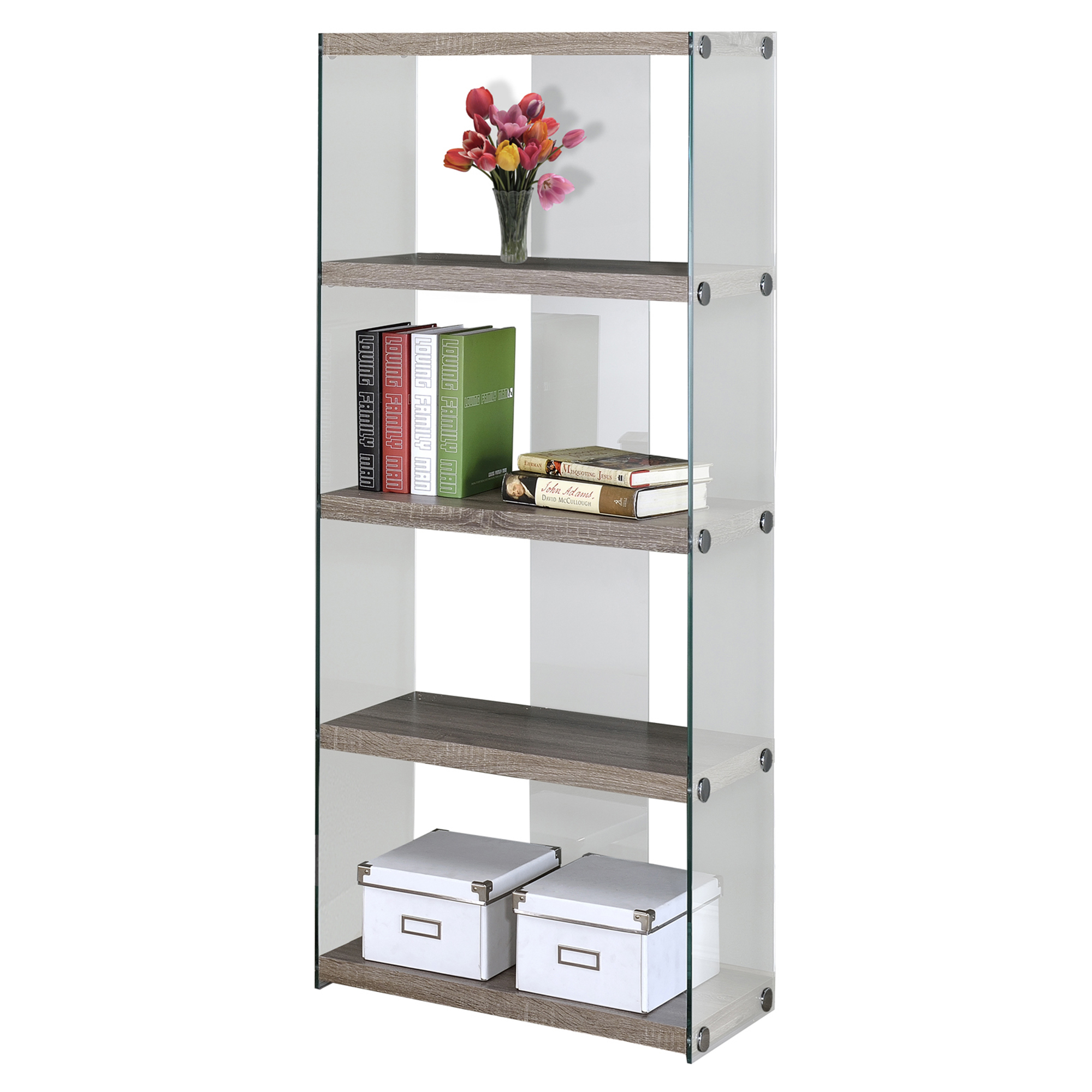 "60""H Hollow-Core Bookcase, Dark Taupe With Tempered Glass"