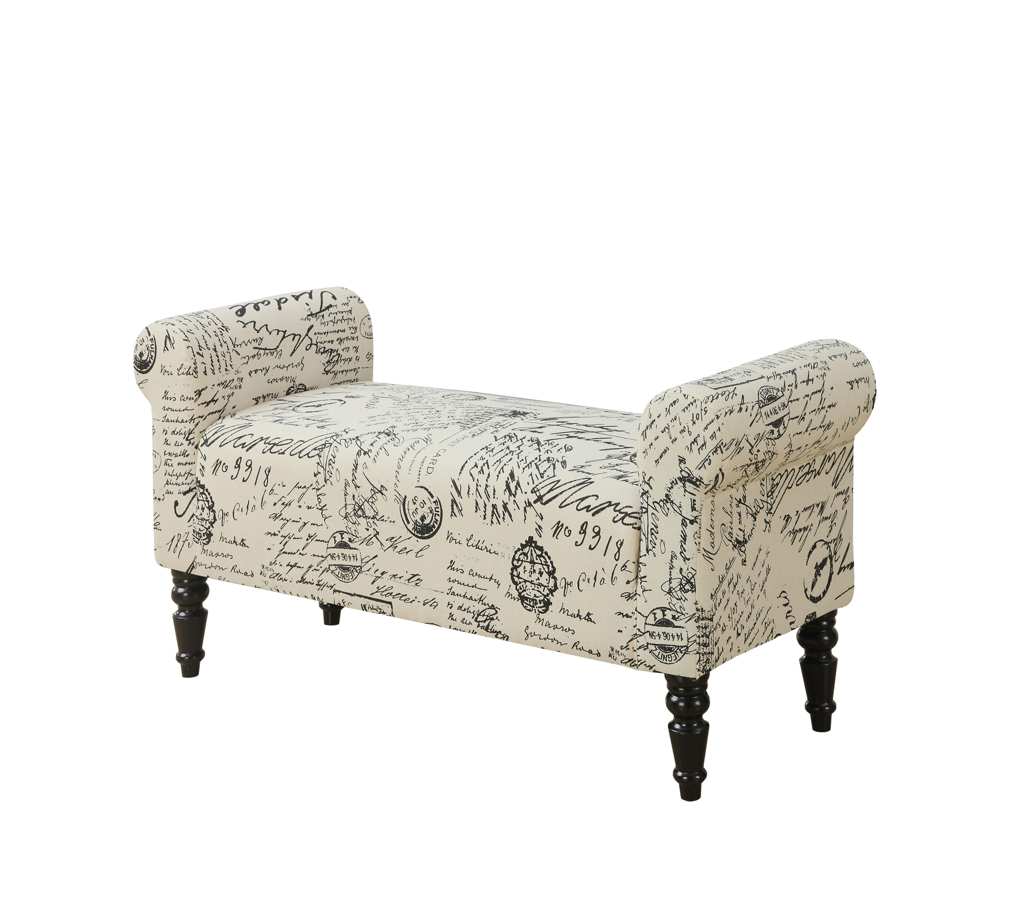 "44"" Traditional Accent Bench with Vintage French Fabric and Black Turned Post Legs"