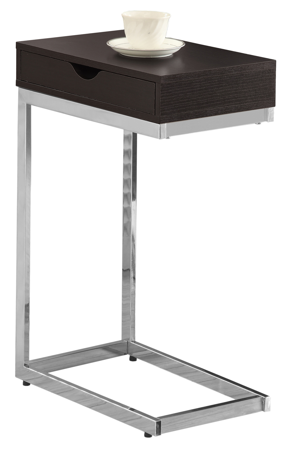 "16"" Accent Table with Storage Drawer, Chrome Metal and Cappuccino"