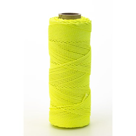Nylon Mason Twine, 1/2 lb. Braided, 18 x 500 ft., Glo Lime (Pack of 6)