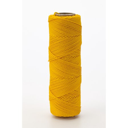Nylon Mason Twine, 1/4 lb. Braided, 18 x 250 ft., Yellow (Pack of 6)