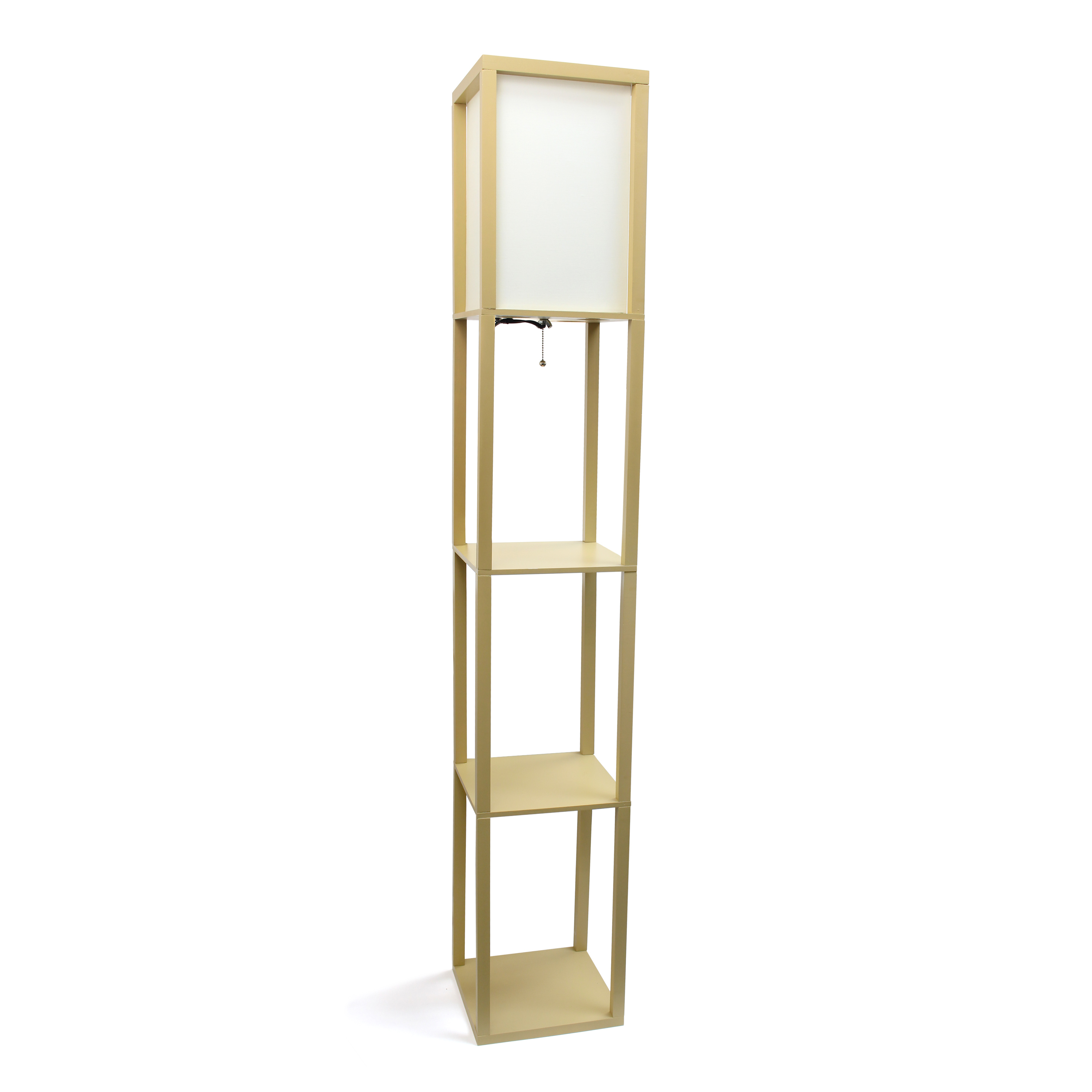 Simple Designs Floor Lamp Etagere Organizer Storage Shelf with Linen Shade, Tan