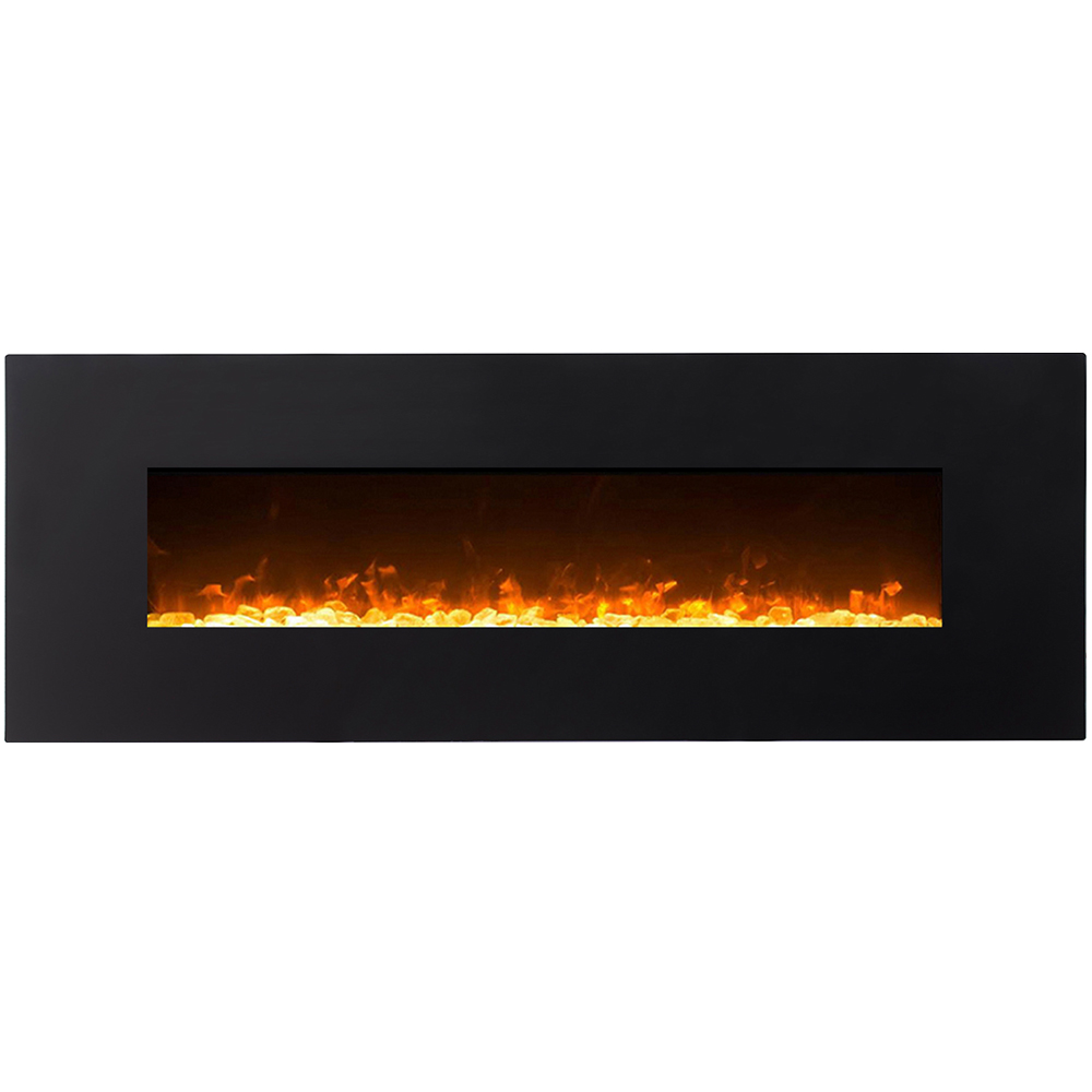 Regal Flame Denali Black 60 Log, Pebble, Crystal, 3 Color Heater Electric Wall Mounted Fireplace Better Than Wood Fireplaces, Ga