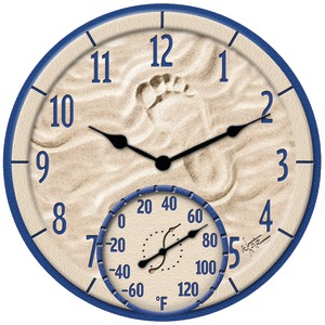 "Springfield Precision 91501 14"" By the Sea Poly Resin Clock with Thermometer"