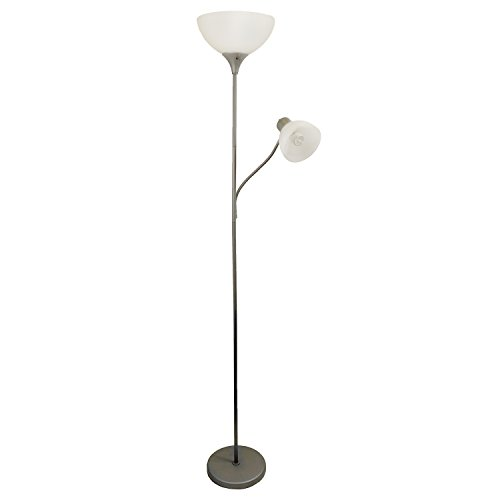 Simple Designs Floor Lamp with Reading Light Silver